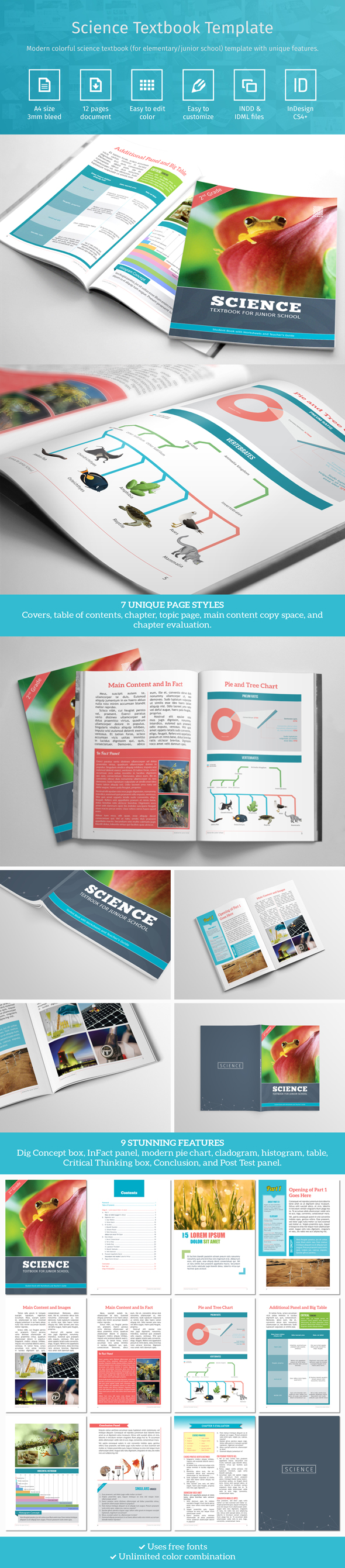 Modern colorful science textbook template create with Adobe InDesign ...