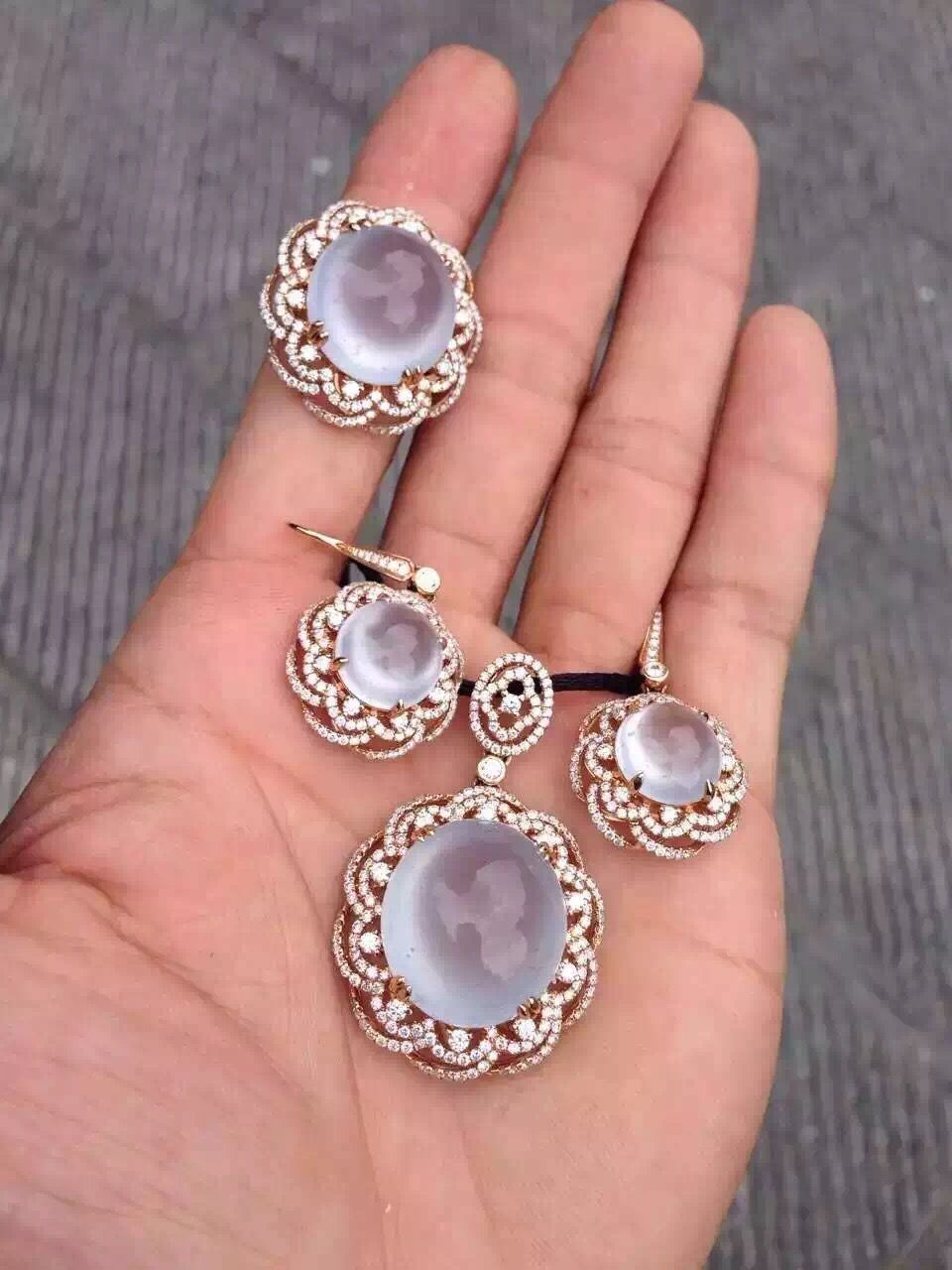 Beautiful icy clear jade 3-piece jewelry set ~ inquiry | Jade ...