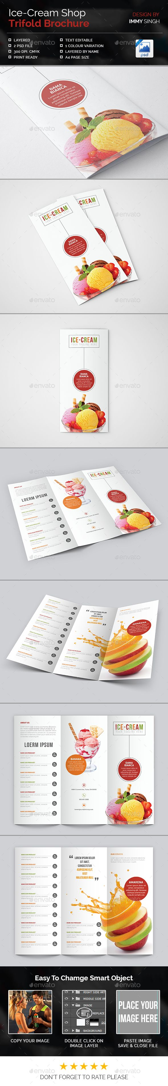 Ice-Cream Shop Trifold Brochure Template PSD #design Download: http://graphicriver.net/item/icecream-shop-trifold-brochure/14122337?ref=ksioks