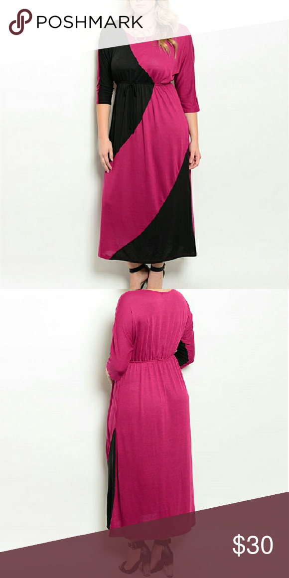 New Plus Size Maxi Dress 3x New Stylish Plus Size Magenta And Black