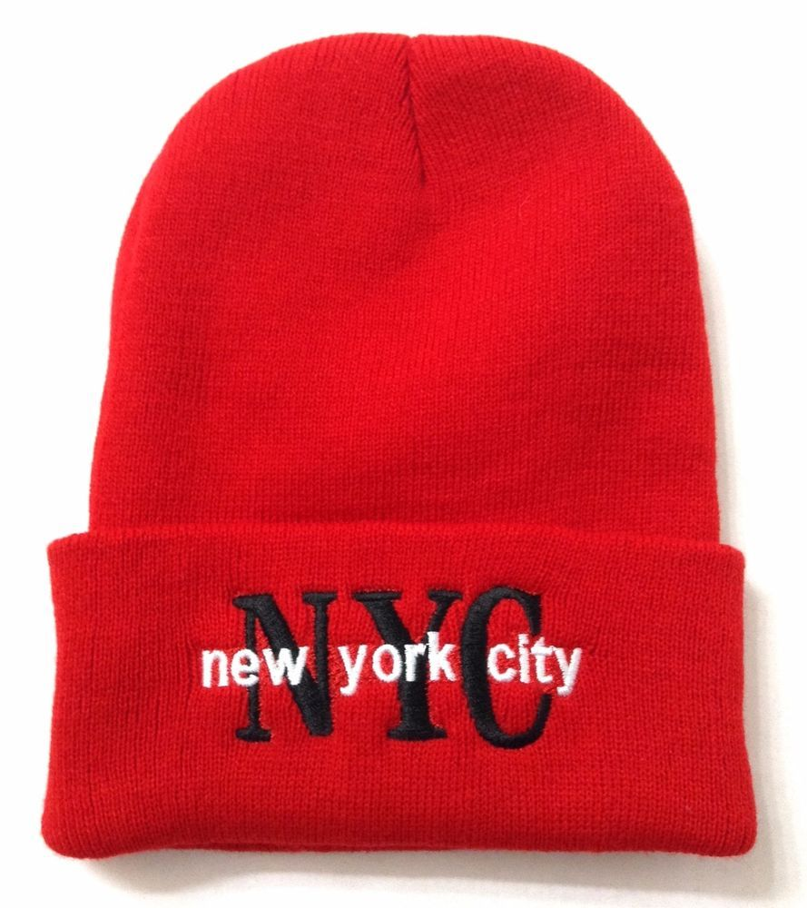 6f7f5a2e2 NEW YORK CITY NYC BEANIE Cuffed Winter Knit Ski Hat Men/Women Red ...