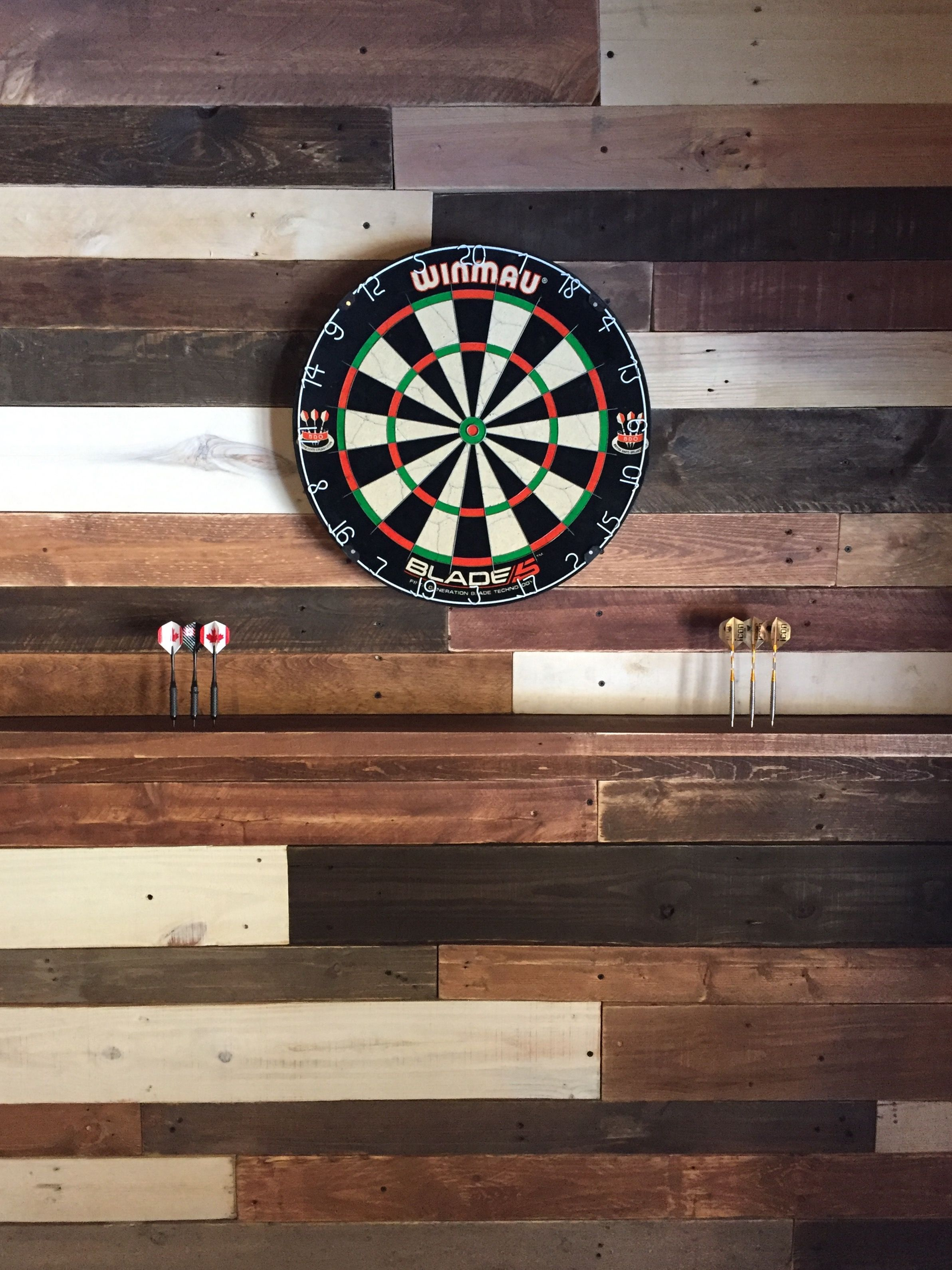 DIY Pallet wall for your dart board! Inspiration for your man cave ...