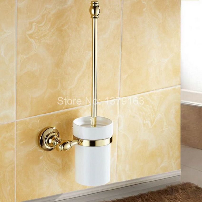 >> Click to Buy << Luxury Golden Polished Brass Wall Mounted Toilet Brush & Holder Set White Brush Ceramic Cup Bathroom Accessory aba137 #Affiliate