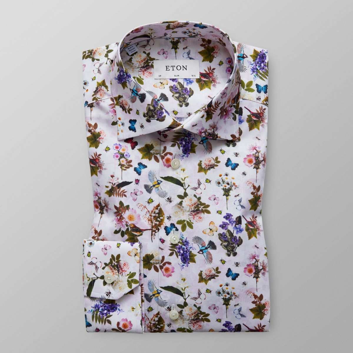 b91ce62e White Floral & Fauna Print Shirt - Slim fit | Eton Global | mens ...