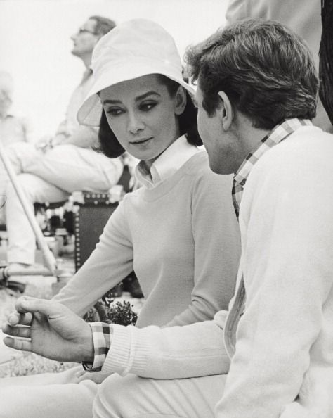 Audrey Hepburn and Albert Finney during the production of Two for the Road, 1966.