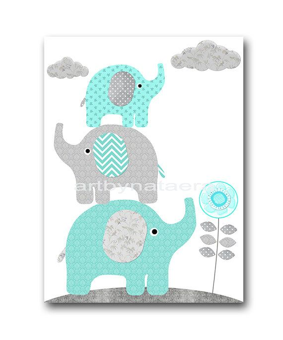 Baby Boy Nursery Wall Decor Elephant Wall Decor Giraffe Wall Decor ...
