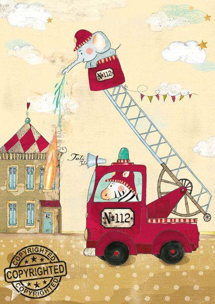 Fabulous Kinderbild Feuerwehr Poster Kinderzimmer Tat Tata u da kommt die Feuerwehr Welcher kleine Junge tr umt nicht davon