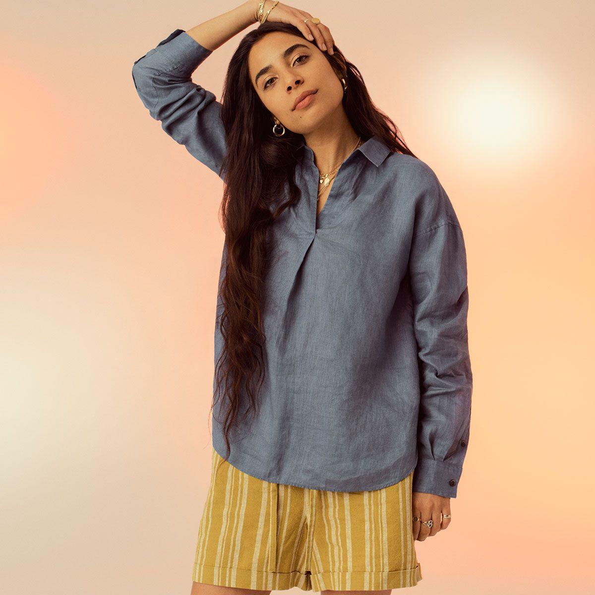 Uniqlo Premium Linen Skipper Collar Long Sleeve Shirt Linen Shirts Women Linen Women Women [ 1200 x 1200 Pixel ]