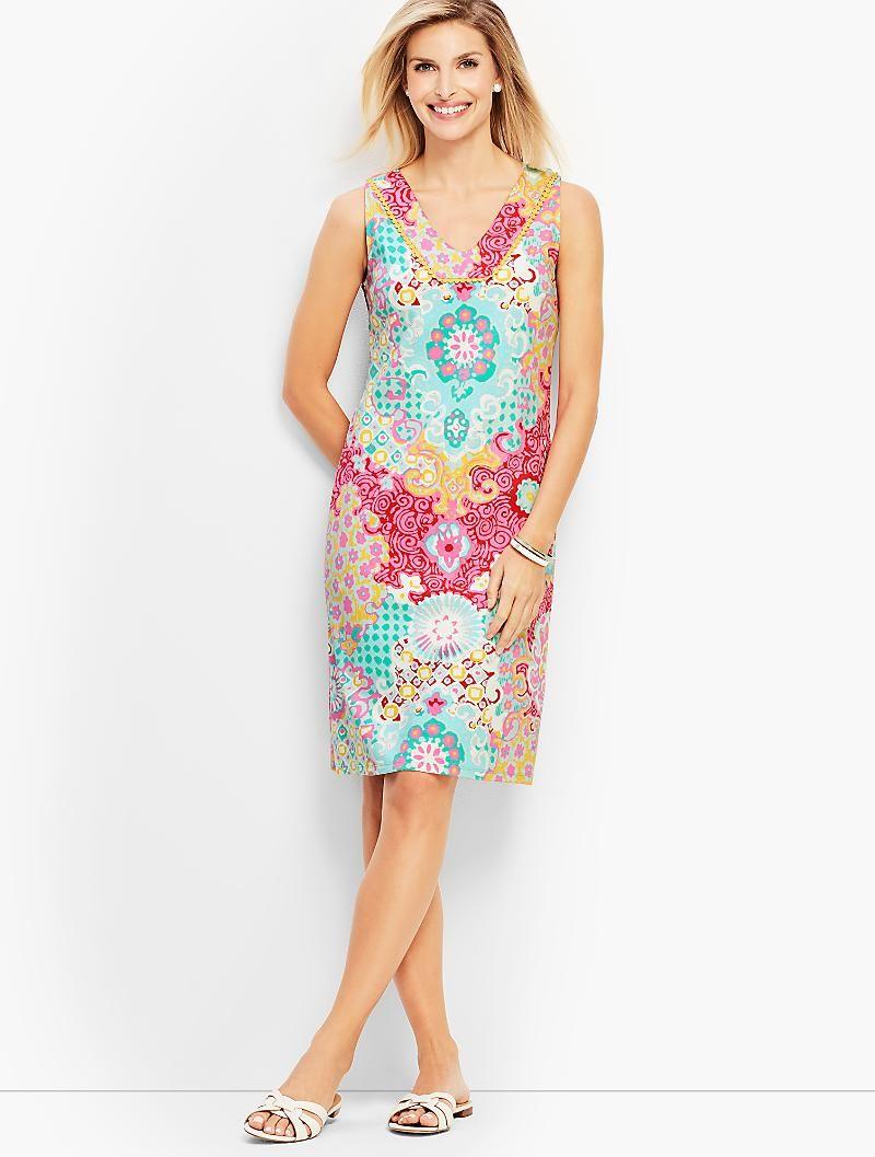 Medallion Interlock Shift Dress Talbots Short Dresses Casual Sleeveless Dress Summer Dresses [ 1057 x 800 Pixel ]