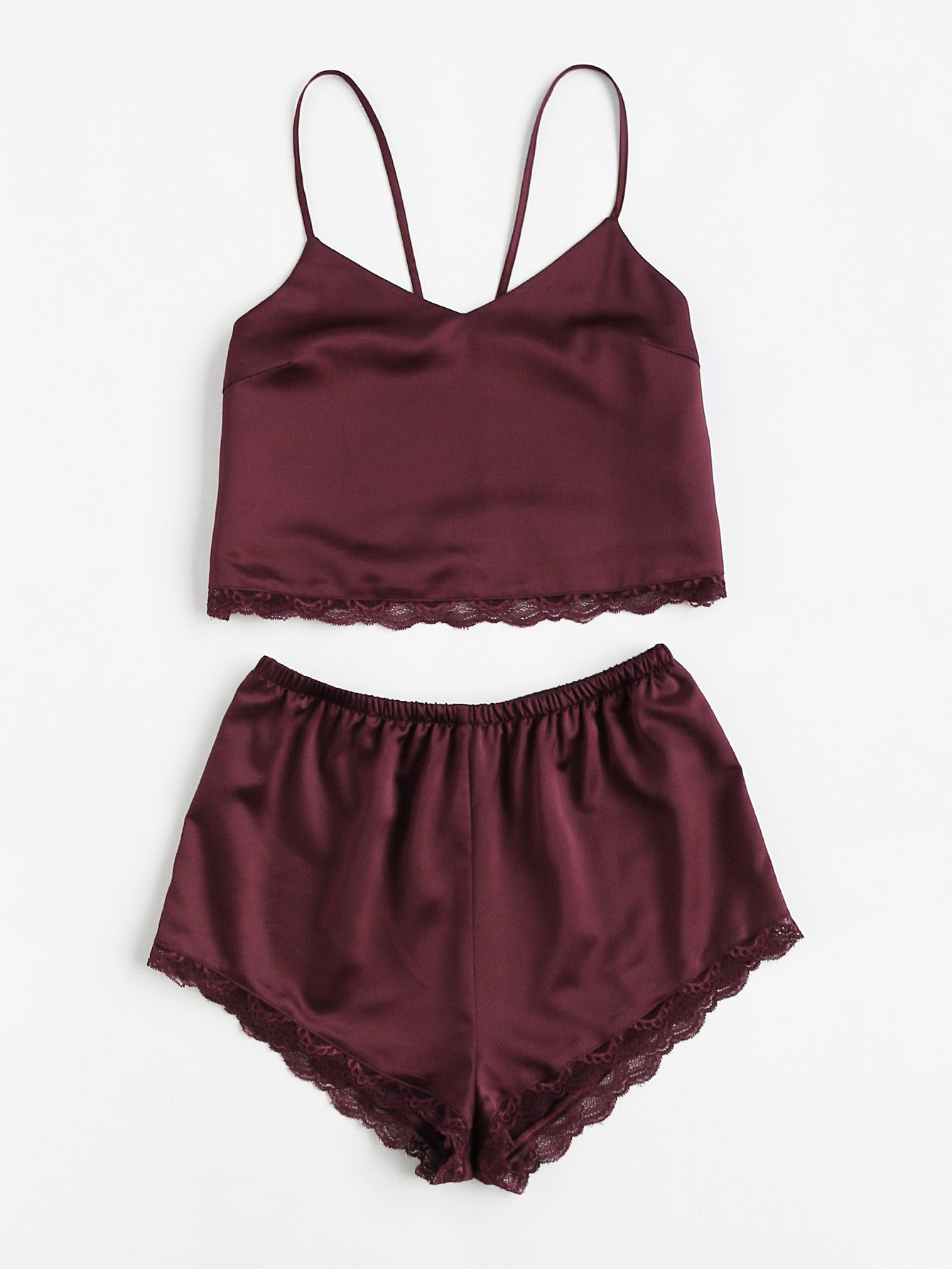 a52f45335031 Lace Trim Satin Cami And Shorts Pajama Set BURGUNDY