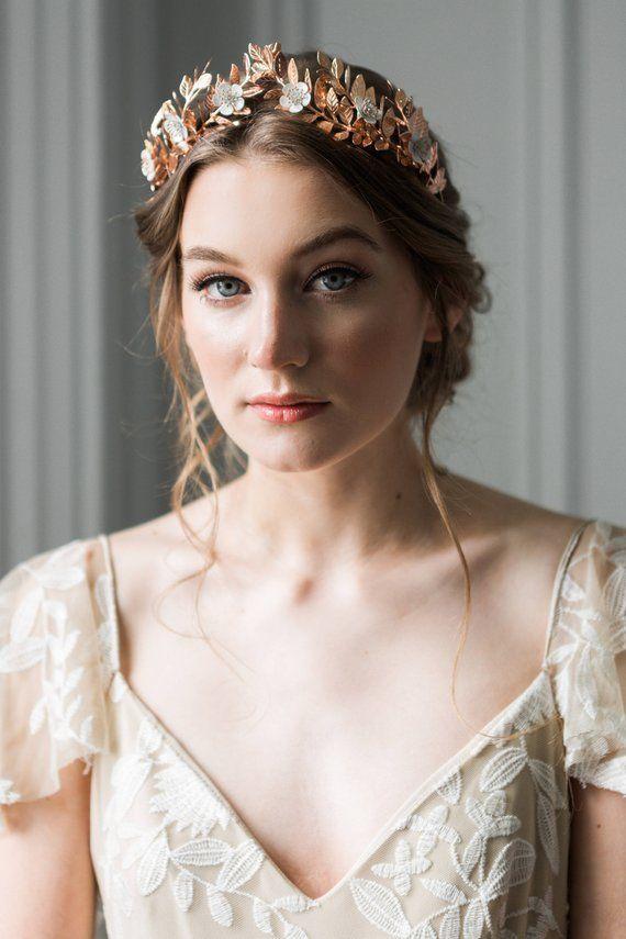 Lorbeerblatt Blumenkrone, Gold Braut Tiara, Blume Tiara, Blatt Blatt Krone, Gold Tiara #110