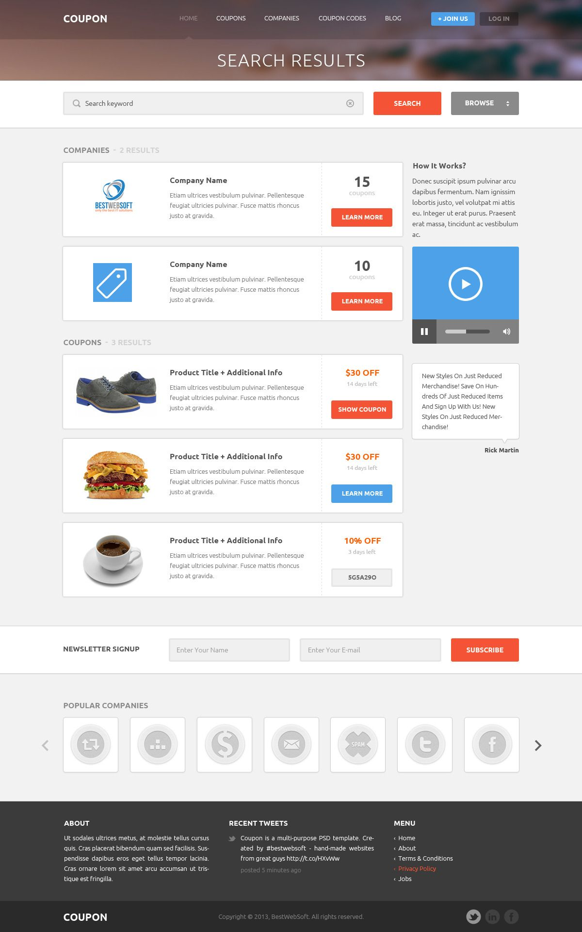 Coupon - Coupons and Promo Codes PSD Template #design #webdesign ...