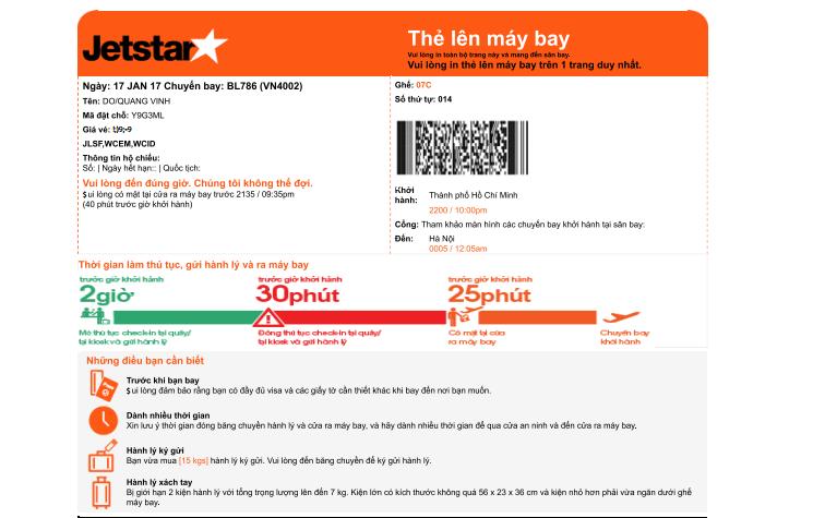 cách check in vé máy bay online jetstar