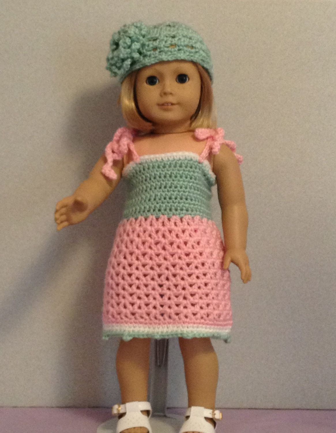 Crocheted Sundress and Hat for 18 inch or American Girl Doll. $7.00 ...