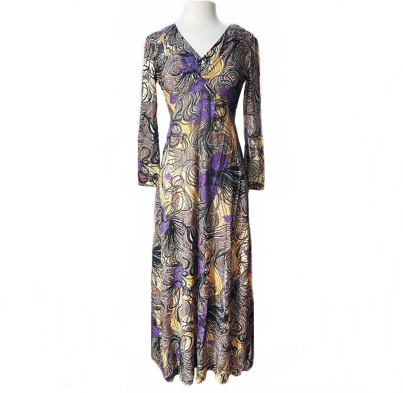 Vintage 70s Lame Maxi Dress Glitter Metallic Thread Dress Etsy Maxi Dress Lurex Dress Dresses [ 1563 x 1600 Pixel ]