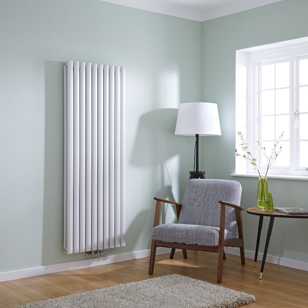 Milano Aruba Flow   White Vertical Double Panel Middle Connection Designer  Radiator 1600mm X 590mm