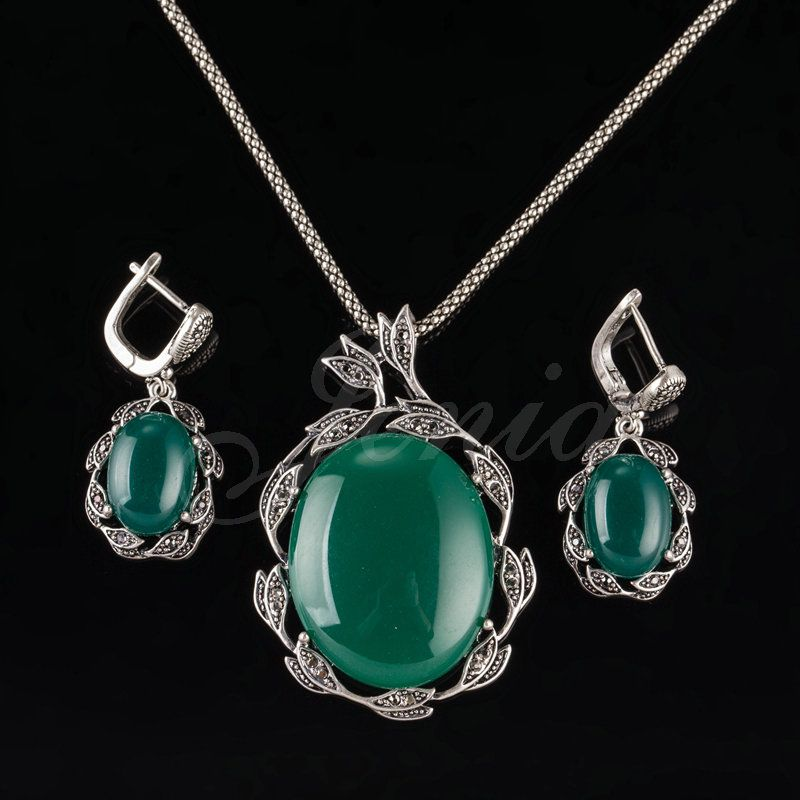 Jenia Retro Silver Color Green Agate Jewelry Set Marcasite Drop Earrings And Pendant Sets Unique Design Xs193