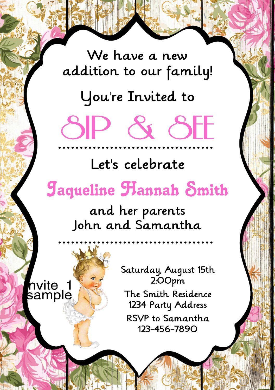 Sip and See Invitation Girl//Princess//Baby Shower//Vintage//Digital ...