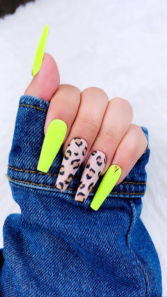 Neon Cheetah Press On Nails Cheetah Nails Brown Nails Etsy Cheetah Nails Coffin Nails Designs Fake Nails
