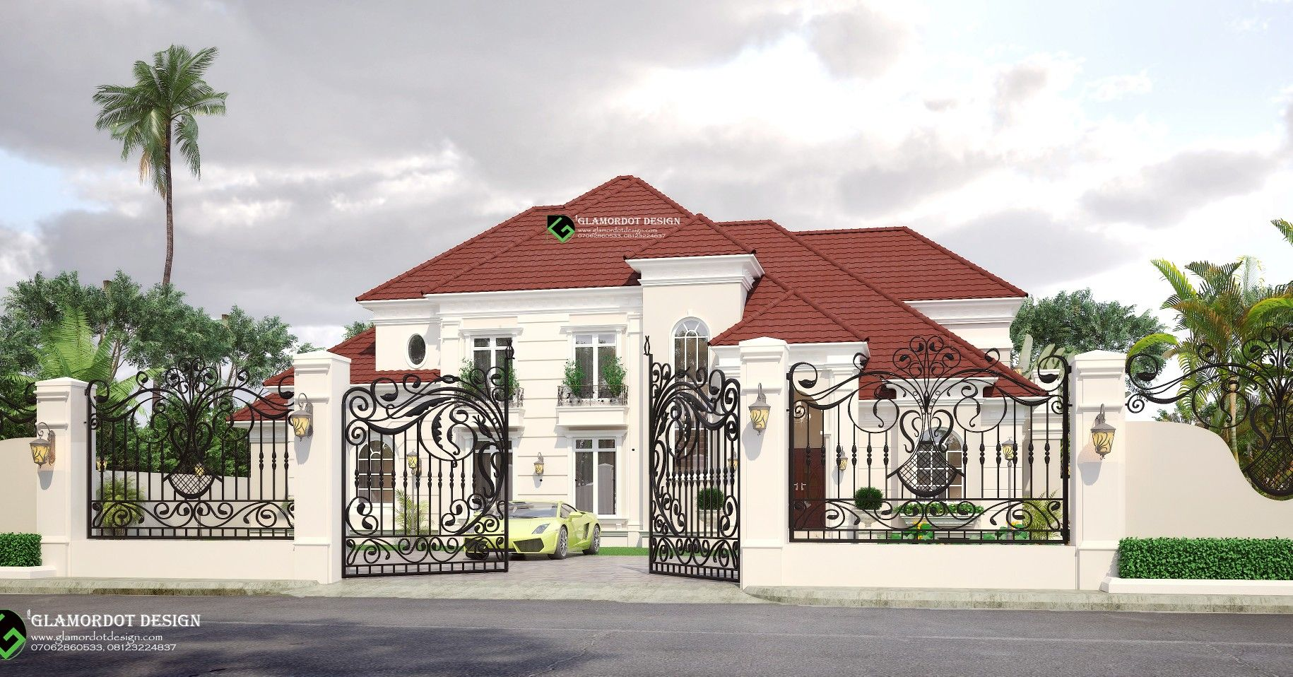 Architectural Design Of A Proposed 5 Bedroom Bungalow Mansion With Pent House Nigeria For Inquiries Classic House Exterior Bungalow Exterior House Exterior