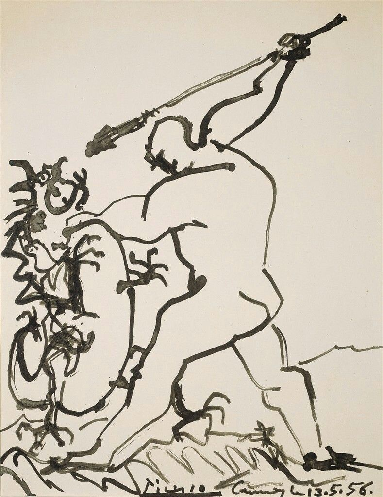 Pablo Picasso (Spanish, 1881-1973),Homme terrassant un dragon[Man slaying a dragon], Cannes, 13 May 1956. India ink on strong paper, 42.1 x 32.7 cm.