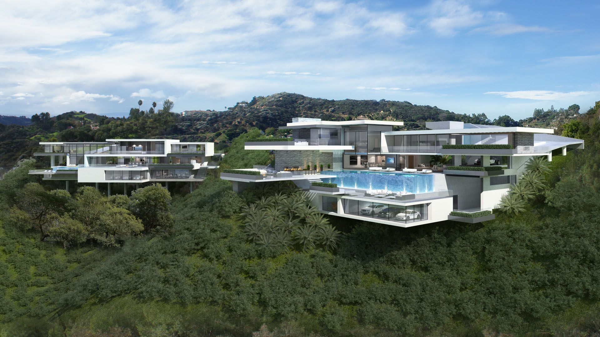 Breathtaking starlight mansion home plans in white color featuring modern stylish with glass and concrete material