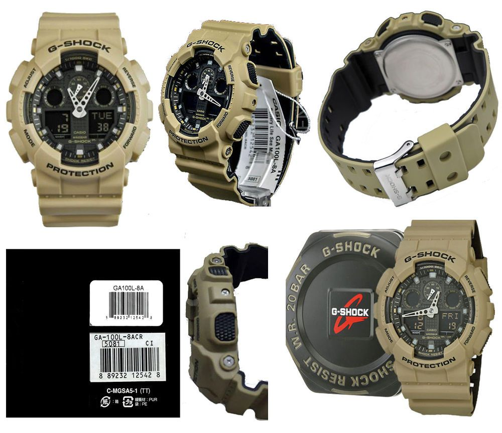Casio G Shock GA100L 8A Military Sand Colored Layered Band Series Watch  118a8068c7