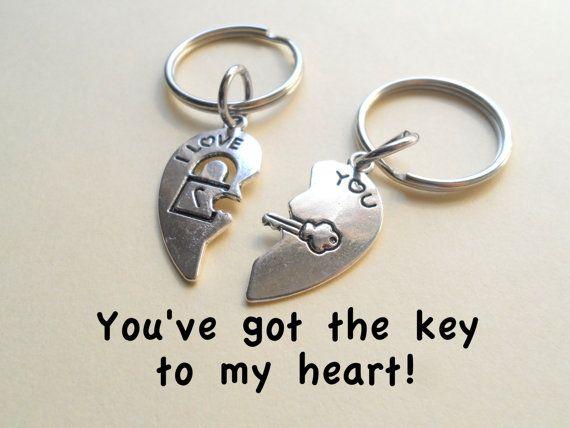 6dca82c386 Key and Lock Heart Keychain Set, Couple Key Ring Gift, Initials on back,  Husband Wife, Girlfriend Boyfriend, You've got the key to my heart, ...