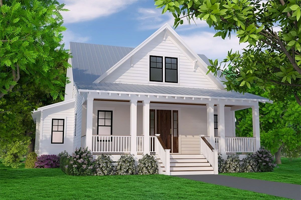 Plan 15246nc Delightful 3 Bed Cottage Plan With First Floor Master Bed In 2020 Cottage Plan Porch House Plans Cottage House Plans