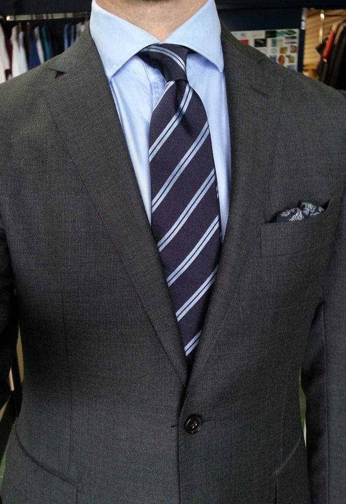 Dark grey suit, light blue shirt, navy tie with light blue ...
