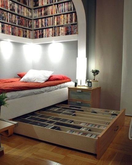IKEA Hack Media Storage Bed | 27 Ways To Rethink Your Bed  http://www.buzzfeed.com/peggy/27-ways-to-rethink-your-bed