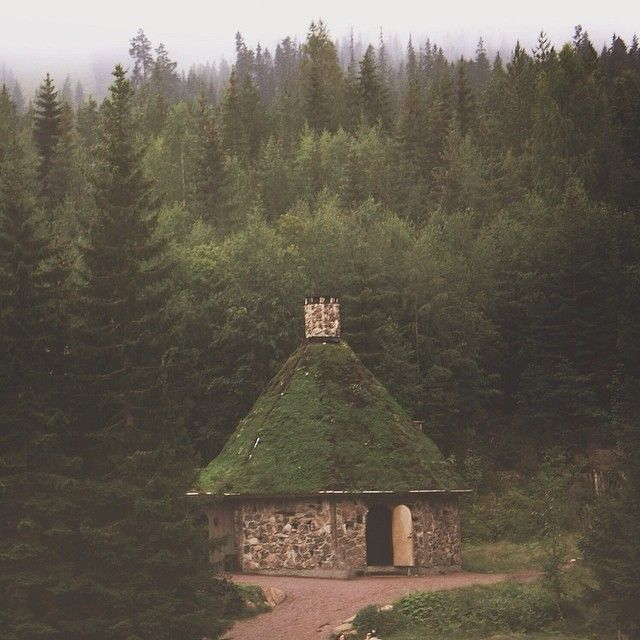 POSM Note: Stone Tiny House In The Round. Earth Roof W