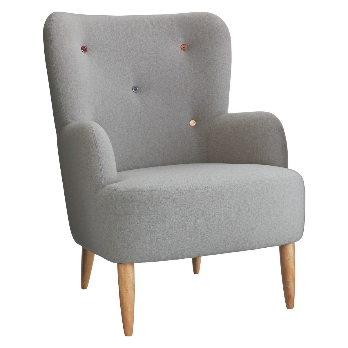 Wilmot grey wool mix armchair with multi coloured buttons for Grey comfy chair