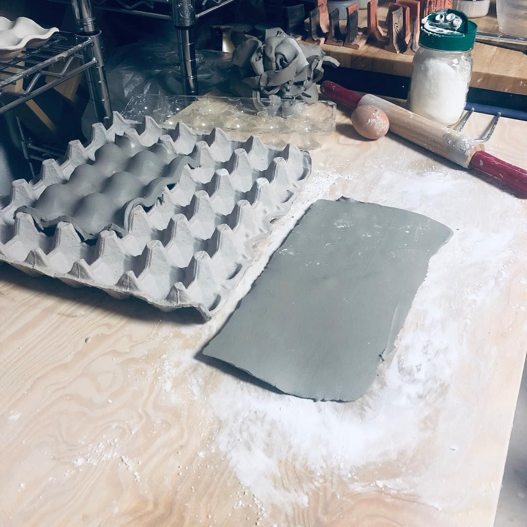 """The slip on Instagram: """"I'm not the best handbuilder, but I'm having fun making these egg trays! Any makers with tips for me? I've got my cornstarch so it doesn't…"""""""