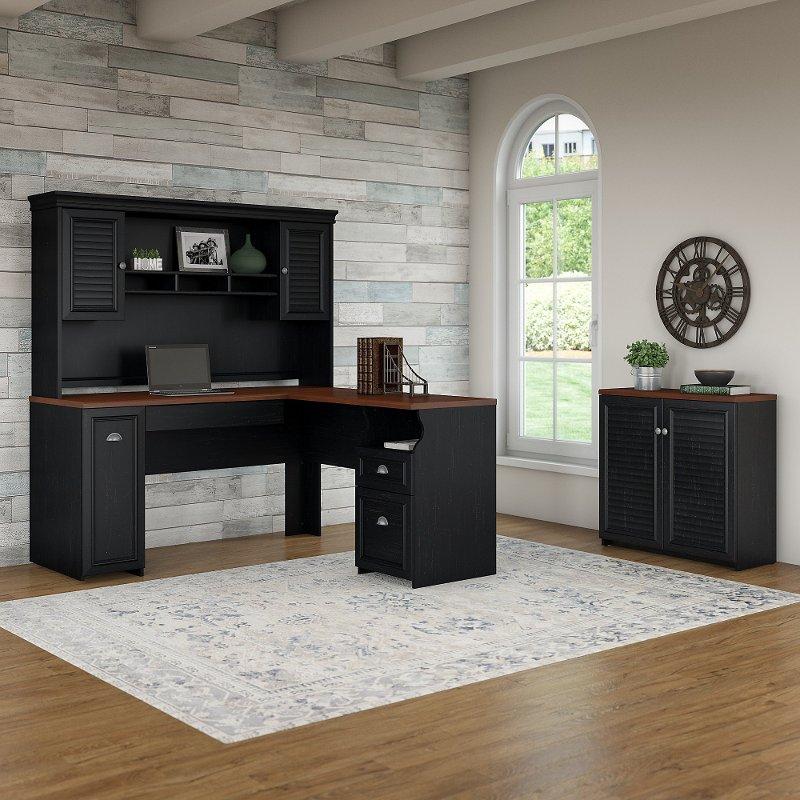Antique Black And Hansen Cherry 3 Piece Office Desk Set Fairview