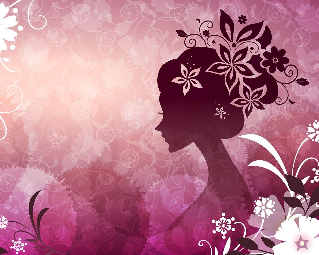Vector woman with pink flowers, wallpaper Digital art