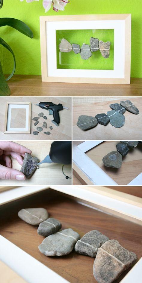 schwebende steine im rahmen bastelideen pinterest steine hei klebepistolen und rahmen. Black Bedroom Furniture Sets. Home Design Ideas