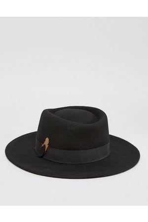 Hombre Sombreros - ASOS Sombrero fedora con banda de plumas y fieltro en  contraste b5d0ab5ee0d