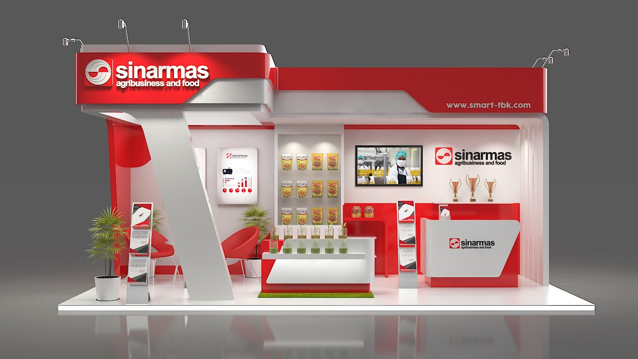 Food Exhibition Stand Design : Sinarmas argribussines booth side open
