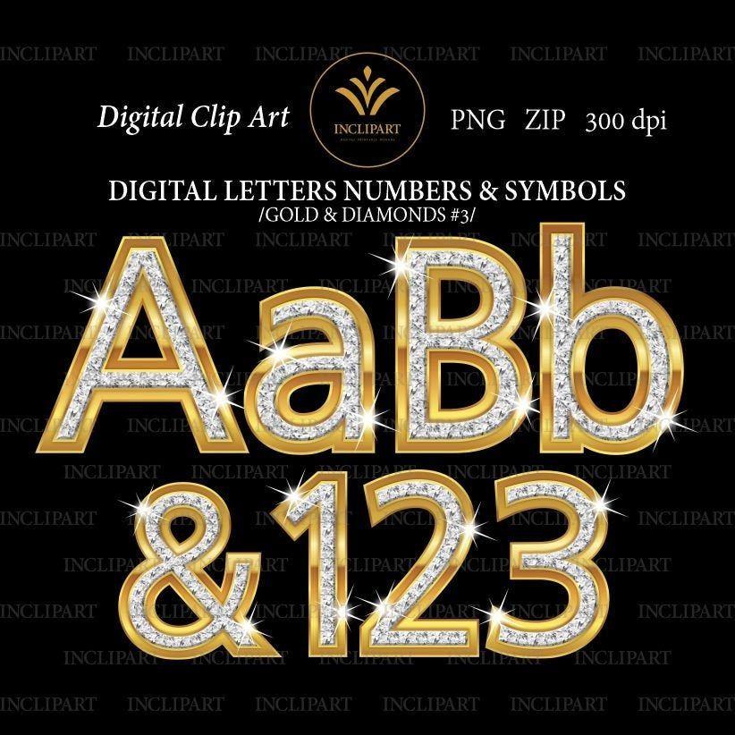 Gold And Diamond Alphabet Digital Clip Art In Png File Format Etsy Digital Alphabet Digital Clip Art Clip Art