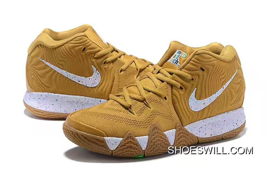 Nike Kyrie 4 Cinnamon Toast Crunch Metallic Gold Coin/White BV0426-900 Top Deals #cinnamontoastcrunch Nike Kyrie 4 #cinnamontoastcrunch