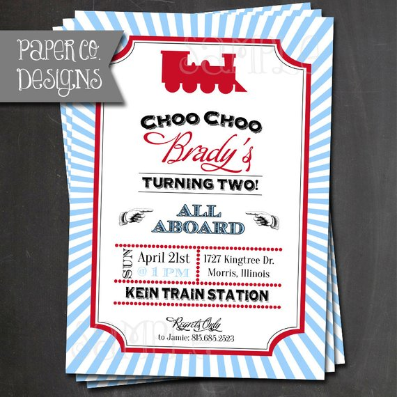 Vintage Train Birthday Invitations