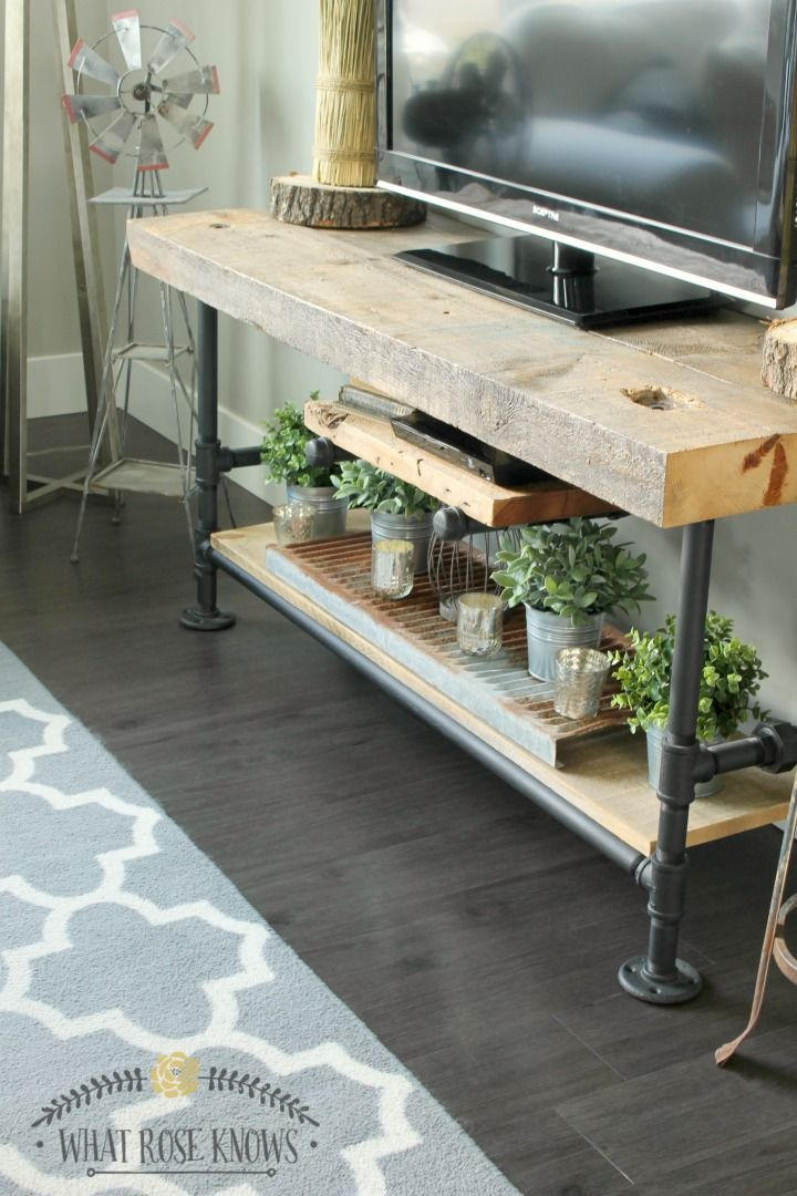 reclaimed wood black pipe tv stand blogger home projects we love