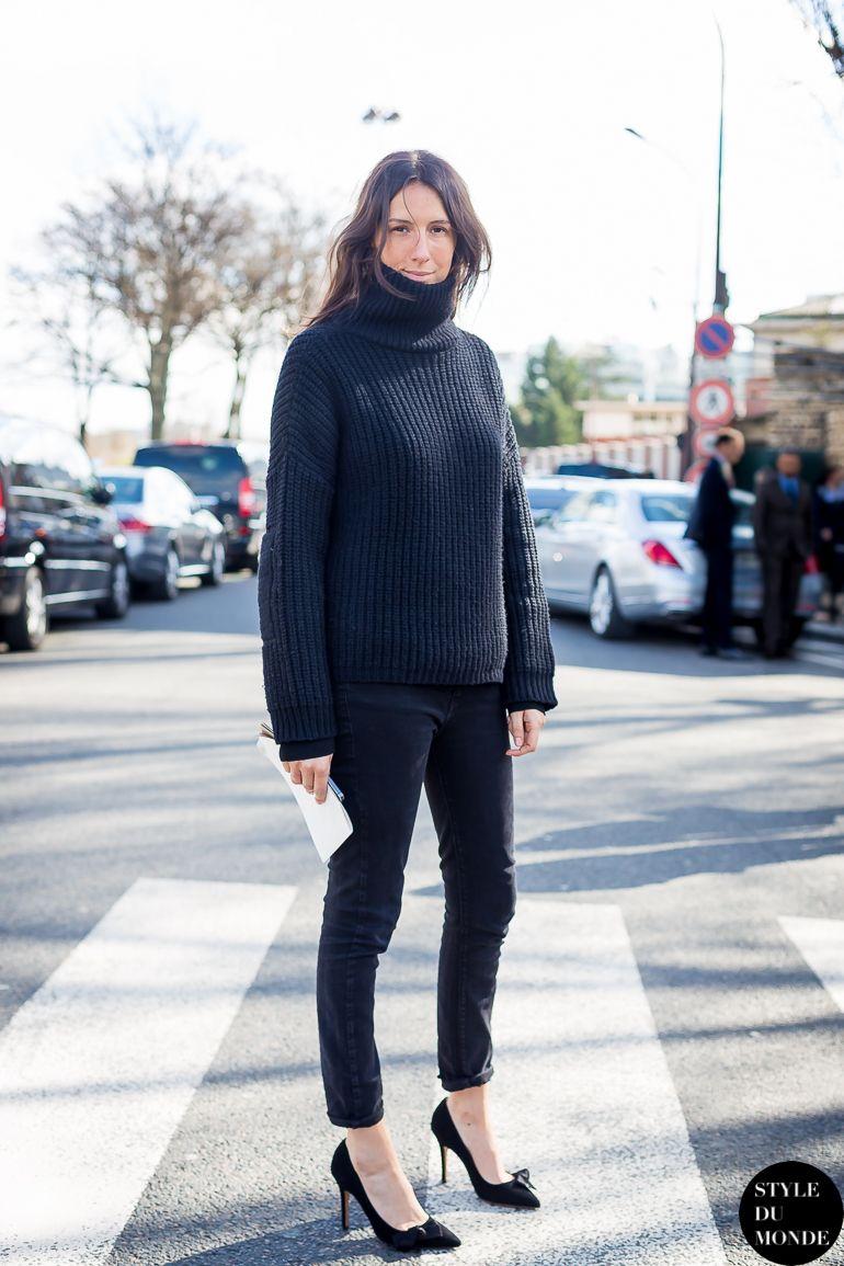 Paris Fashion Week Fw 2014 Street Style Geraldine Saglio Blackout Inside Flats Jeraldine Black By Styledumonde Blog