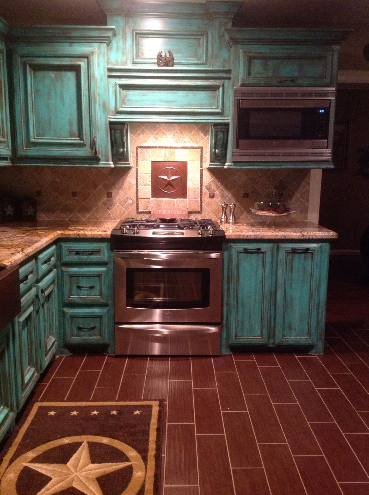 Best Kitchen Gallery: Western Kitchen I Wonder If I Could Remodel My Kitchen Like This of Weathered Kitchen Cabinets Turquoise on rachelxblog.com