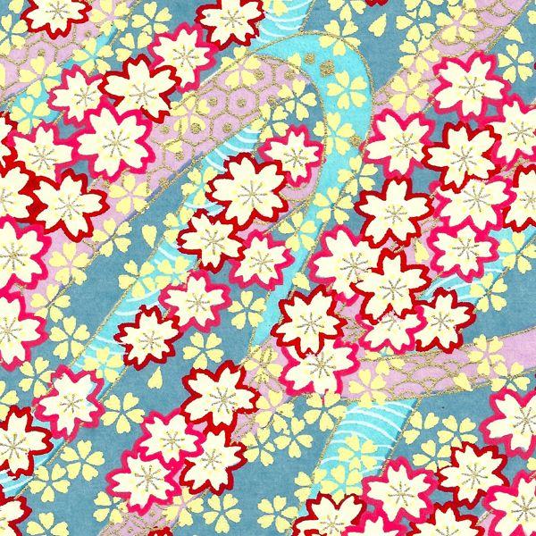 papier japonais s rigraphie fleurs de cerisiers blanc rouge rose jaune or bleu adeline. Black Bedroom Furniture Sets. Home Design Ideas