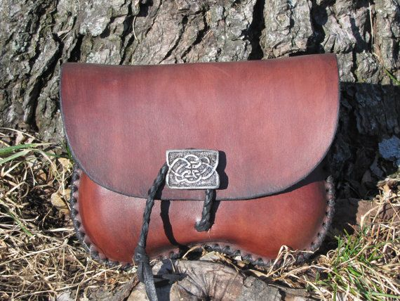 Leather Belt Pouch with Celtic Button by HawkStudio on Etsy, $60.00