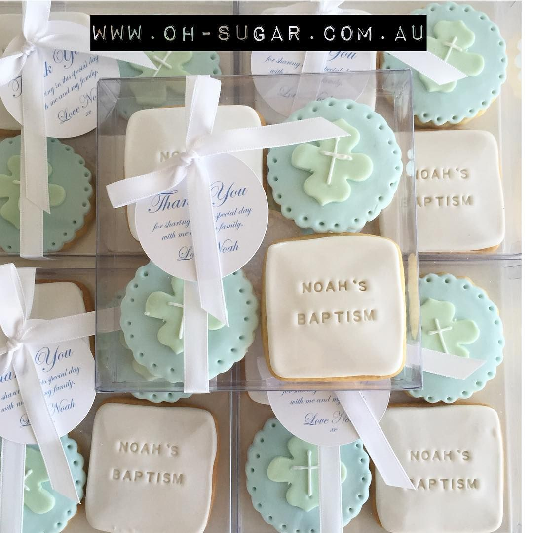 And matching cookie boxes for Noah\'s Baptism #ohsugar #cookieboxes ...