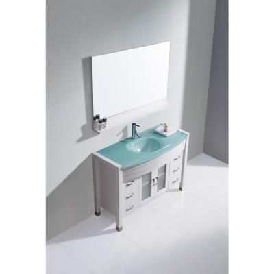 Virtu Usa Ava 47 In W Bath Vanity In White With Glass Vanity Top In Aqua Tempered Glass With Round Basin And Mirror And Faucet Ms 509 G Wh The Home Depot White