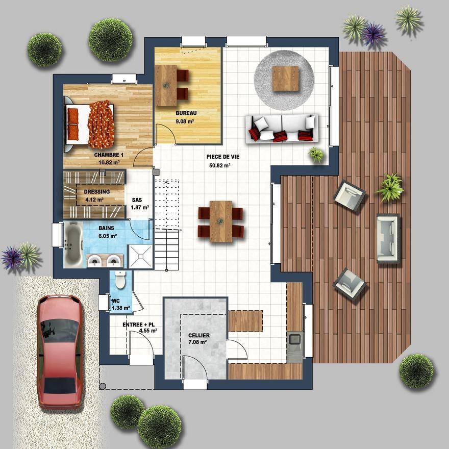 Découvrez cette Maison cubique toiture monopente Talmont St Hilaire